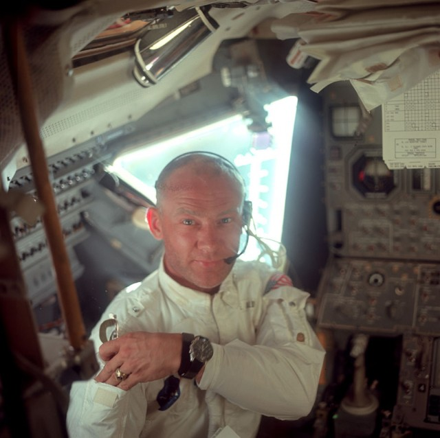 "This is Buzz Aldrin, aka ""Dr. Rendezvous."" He basically figured out a bunch of stuff about how orbits work that NASA still uses to this day. Also, he will literally <a href=""https://www.youtube.com/watch?v=tTd17alnD34"">punch you in the face</a> if you anger him. (NASA photo AS11-36-5390)."