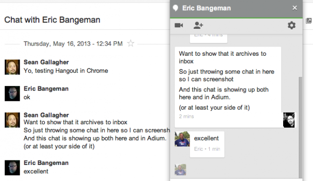 Hangouts chat is archived into Gmail's inbox as it happens, so you can search content by participant and chat text.