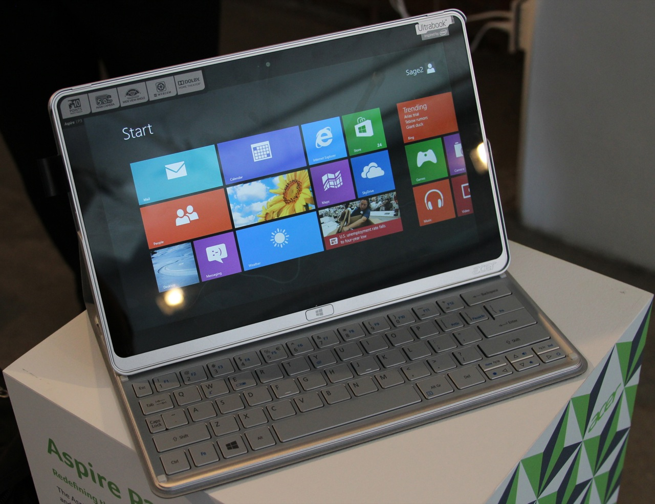 The Acer Aspire P3 Ultrabook, which is less an Ultrabook than a thin tablet in a keyboard dock.