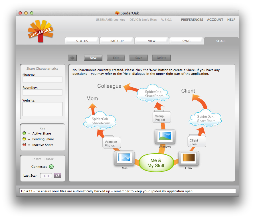 The SpiderOak Client isn't the most immediately engaging application for a new user.