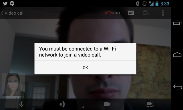 Trying (and failing) to video chat over AT&T.
