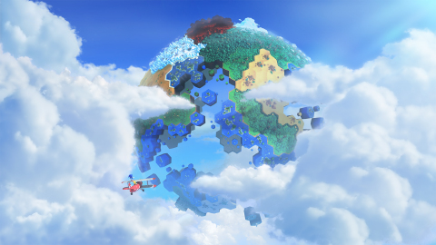 A tiny Sonic standing atop a plane in <em>Sonic: The Lost World.</em>