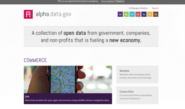 Alpha.data.gov, an experimental data portal created under the White House's Open Data Initiative.