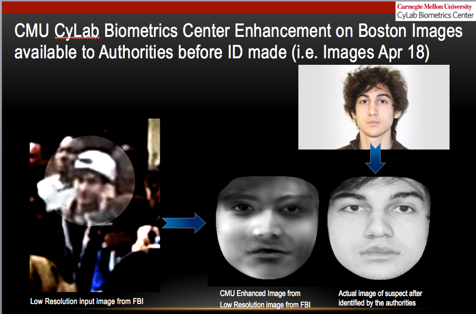 "The image ""hallucinated"" by CyLab's single-image super resolution software, compared to an extraction from a high-resolution image of Dzhokhar Tsarnaev."