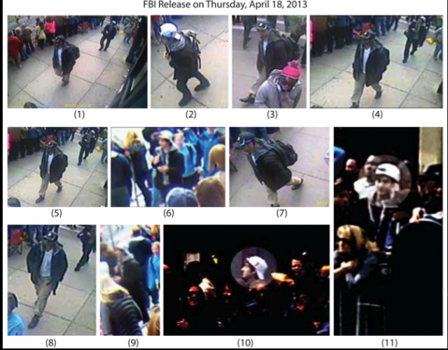 The surveillance images the FBI released of the Boston Marathon bombing suspects on April 18. None of these images could be used successfully for facial recognition.