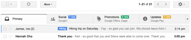 Google updates Gmail to organize messages into different categories