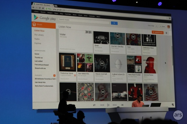 The web interface for Google Play Music All Access.