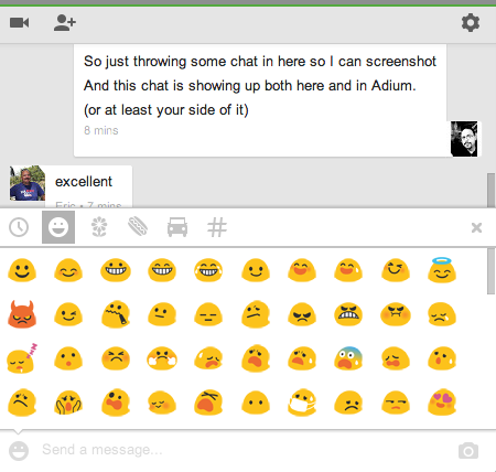 The Hangouts chat interface, along with its plethora of emoticons, here in its Chrome browser plugin version.