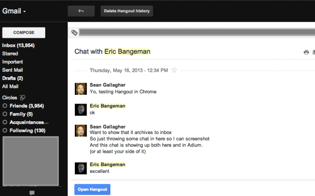 You can also launch a Hangout again with someone from within the Gmail archive or use the legacy Google Talk interface to start a hangout from any Web client.