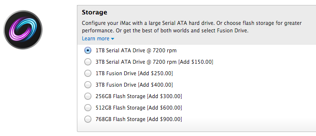 New storage configurations for the 27-inch iMac at Apple's online store.