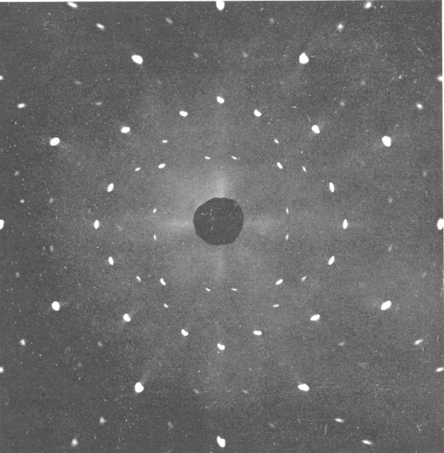 A simple X-ray diffraction pattern. Proteins make many, many more bright spots.