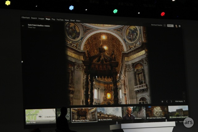 Maps users will be able to smooth-scroll inside notable landmarks and view photos posted by other users.