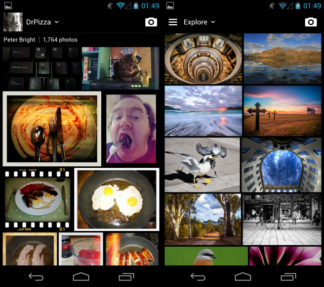 The new Android app: left hand side is your photostream, right hand side is the Explore section.
