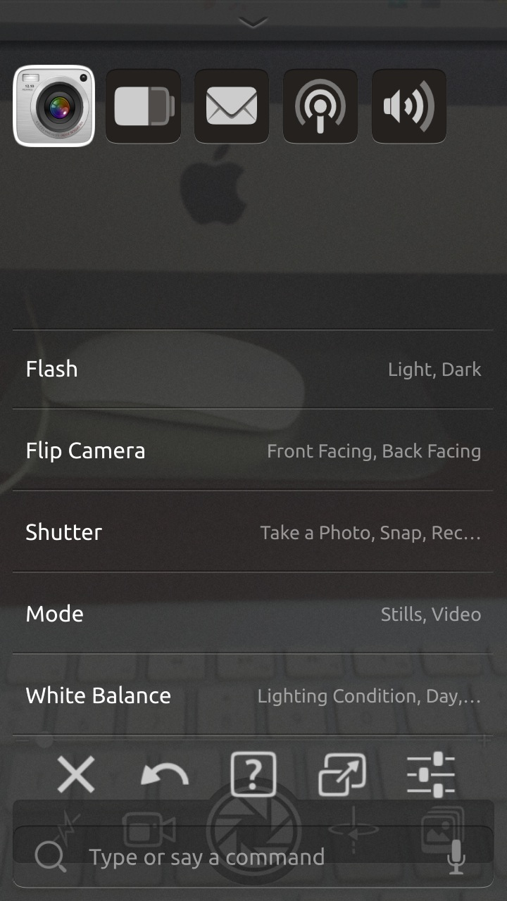 An app-specific settings panel can be brought up for most applications.