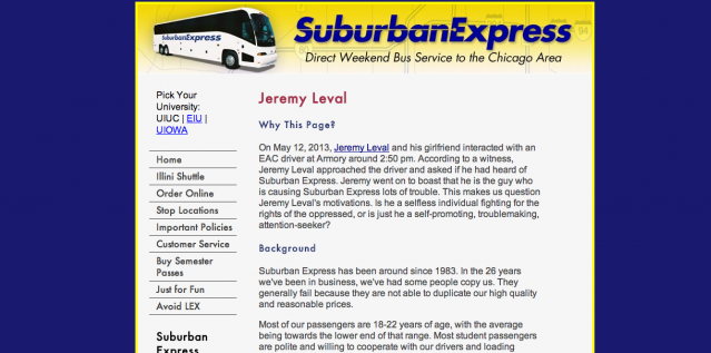 Suburban Express' online campaign against a passenger has now extended to a page dedicated to outing him online.