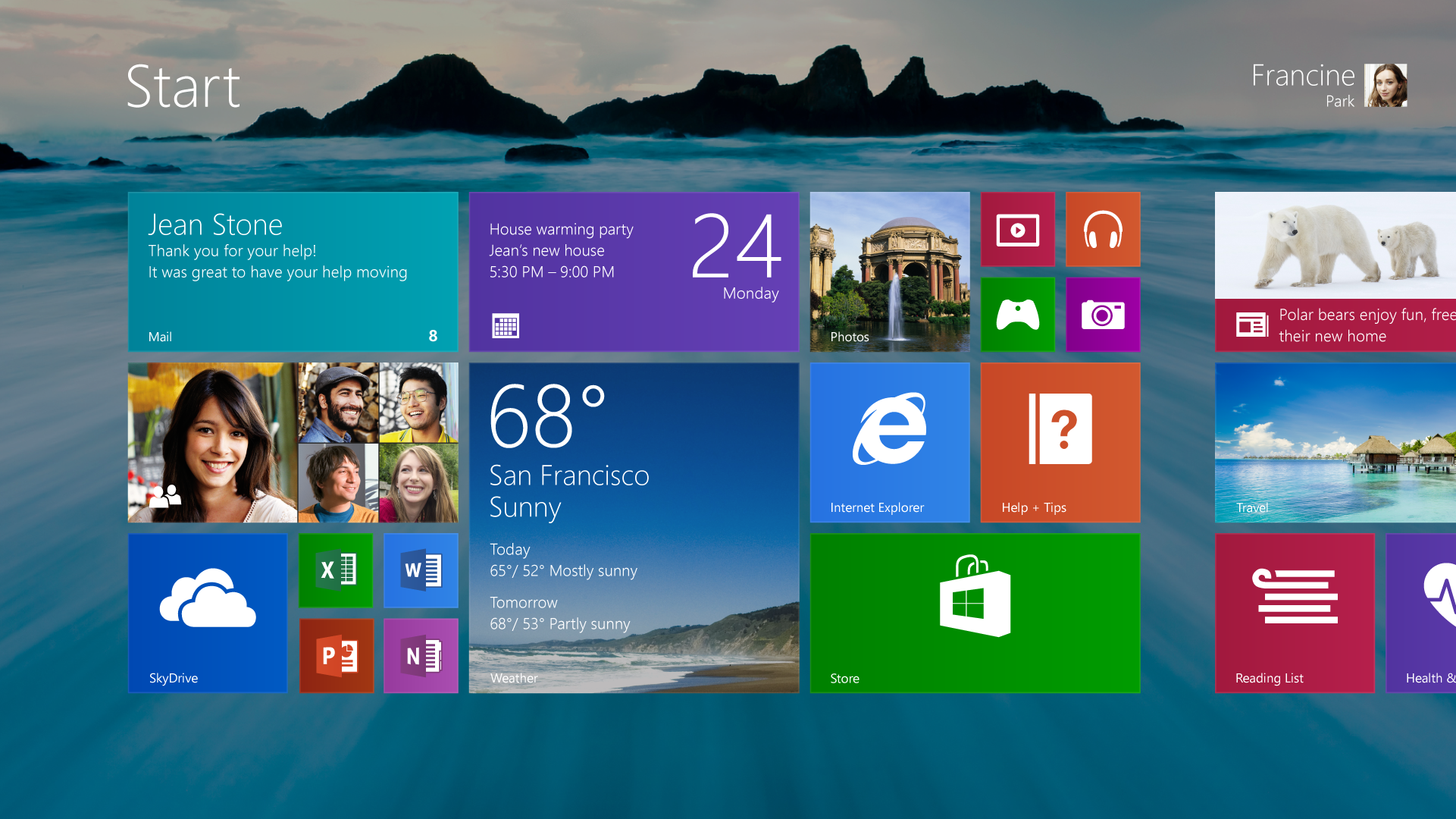The Windows 8.1 Start screen allows for bigger tiles, such as the pretty weather app, smaller tiles, such as the quartet in the upper right corner, and the use of the desktop background.
