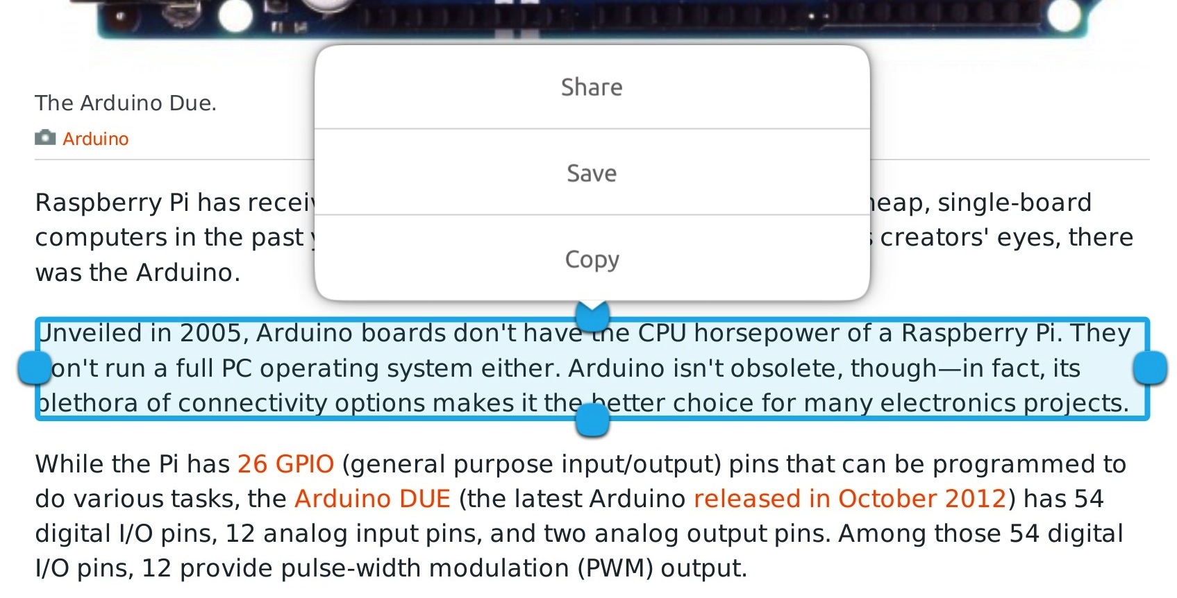 You can't copy and paste anything smaller than a paragraph. Like so many other things in the OS, the Share and Save buttons don't appear to do anything yet.
