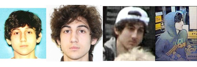 The drivers license and student ID photos of Dzhokhar Tsarnaev, and images published by the FBI and Massachusetts law enforcement during the manhunt for him and his brother.