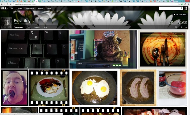 Photostream view is full-width and dense with pictures.