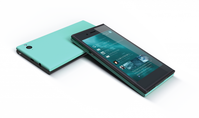 The Jolla running Sailfish OS exists out there, but it will be a while til it gets to consumers' hands.