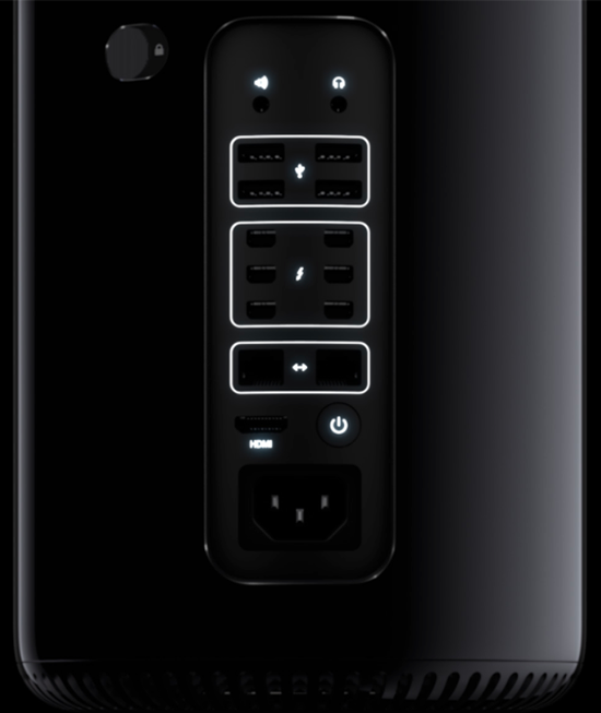 """The back of the new Mac Pro—the panel formerly known as """"the inside of your tower."""""""