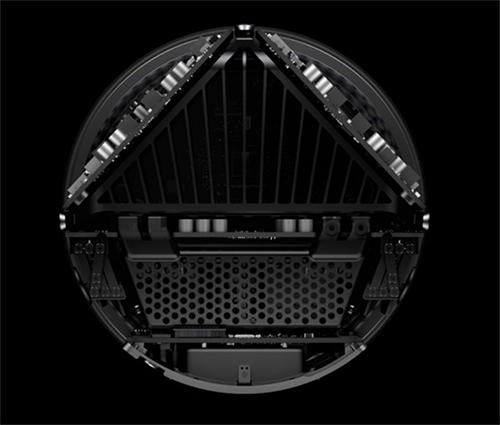 The Mac Pro 2013 interiors arranged around the thermal core.<br />