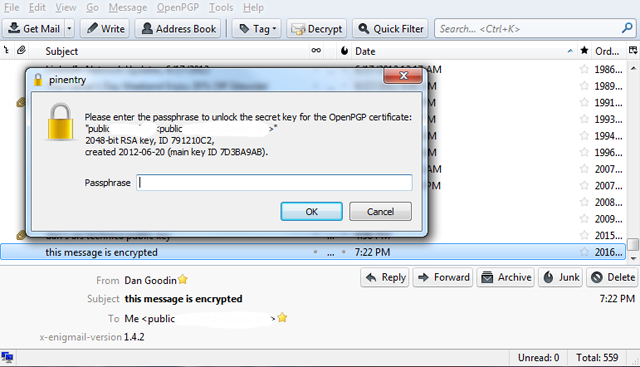The password prompt before the received e-mail is decrypted.