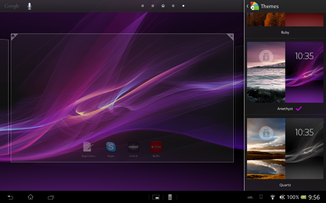 You can select various themes if you'd rather not bother with customizing your Tablet Z.