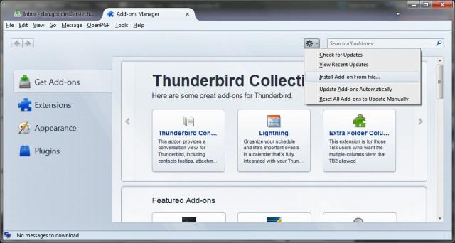 The Thunderbird install add-ons dialog.