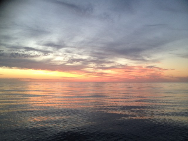 Sunset over the Coral Sea as seen from the deck of the RV Southern Surveyor.