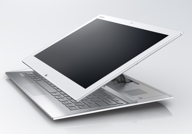 Sony's Vaio Duo 13 in mid-flip.