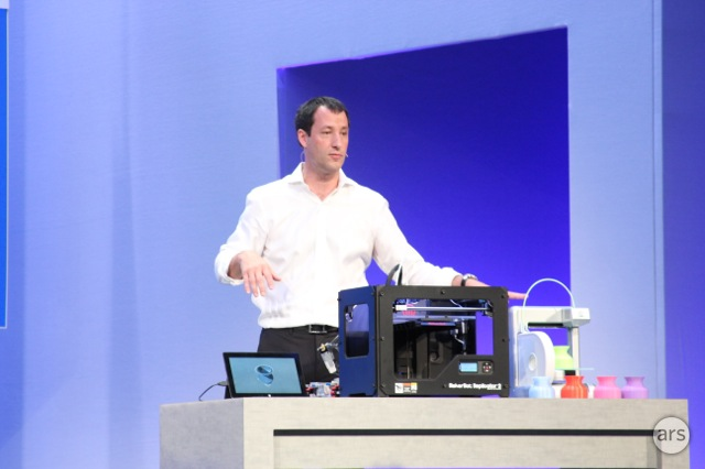 Microsoft's Antoine Leblond shows off Windows 8.1's 3D printer support.