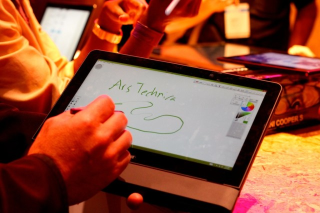 Testing out pressure sensitivity on a tablet at Microsoft's BUILD conference.