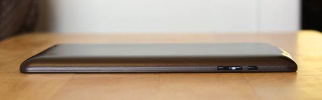 The tablet's power button and volume rocker are on the left side of the tablet, the opposite of the Nexus 7.