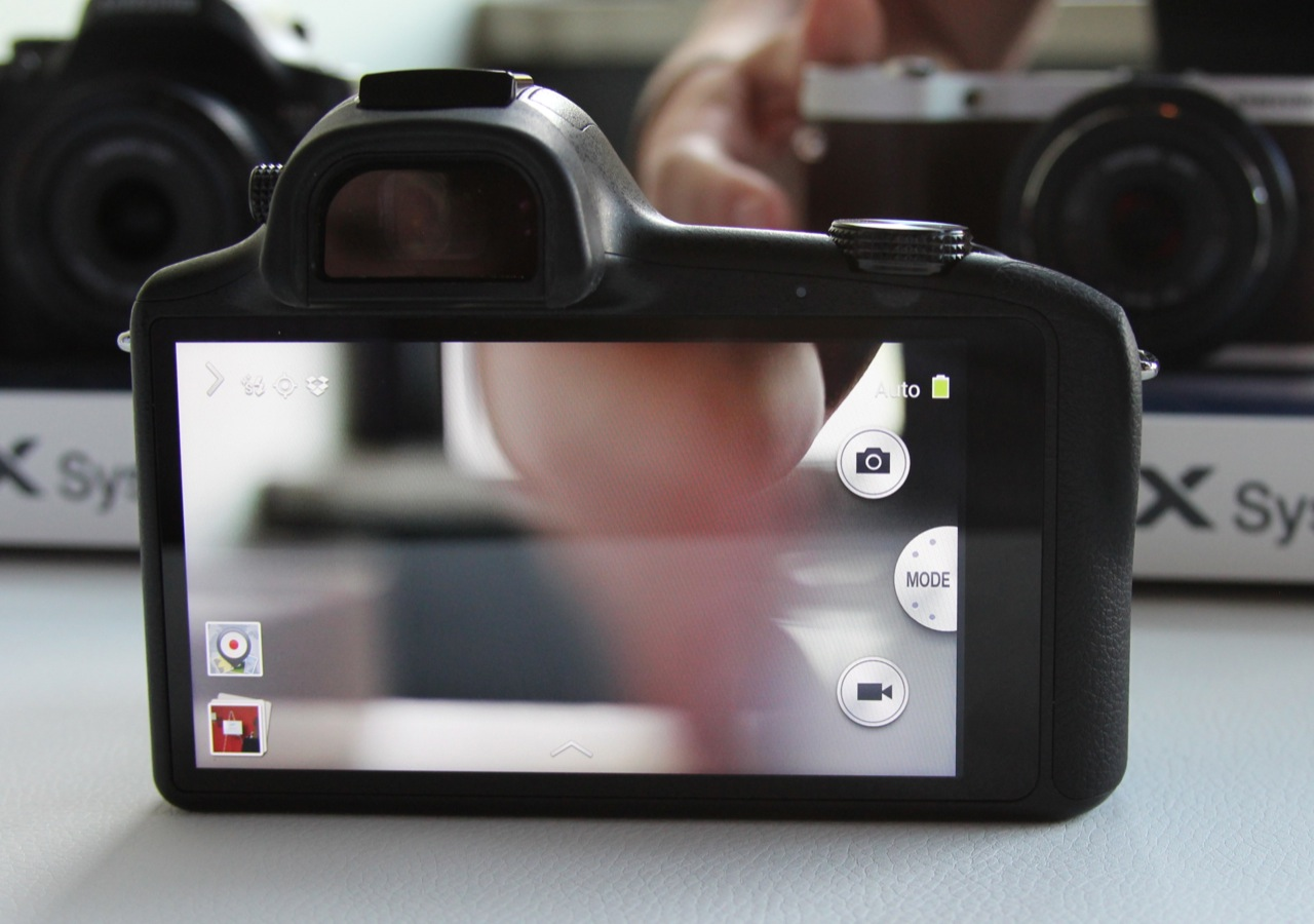 Most of the camera's physical controls have been removed in favor of touchscreen-based navigation.