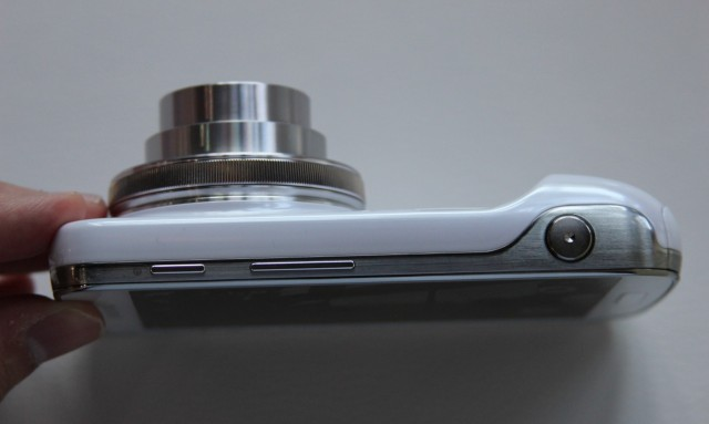 The camera lens protrudes from the back of the phone, whether it's in use...