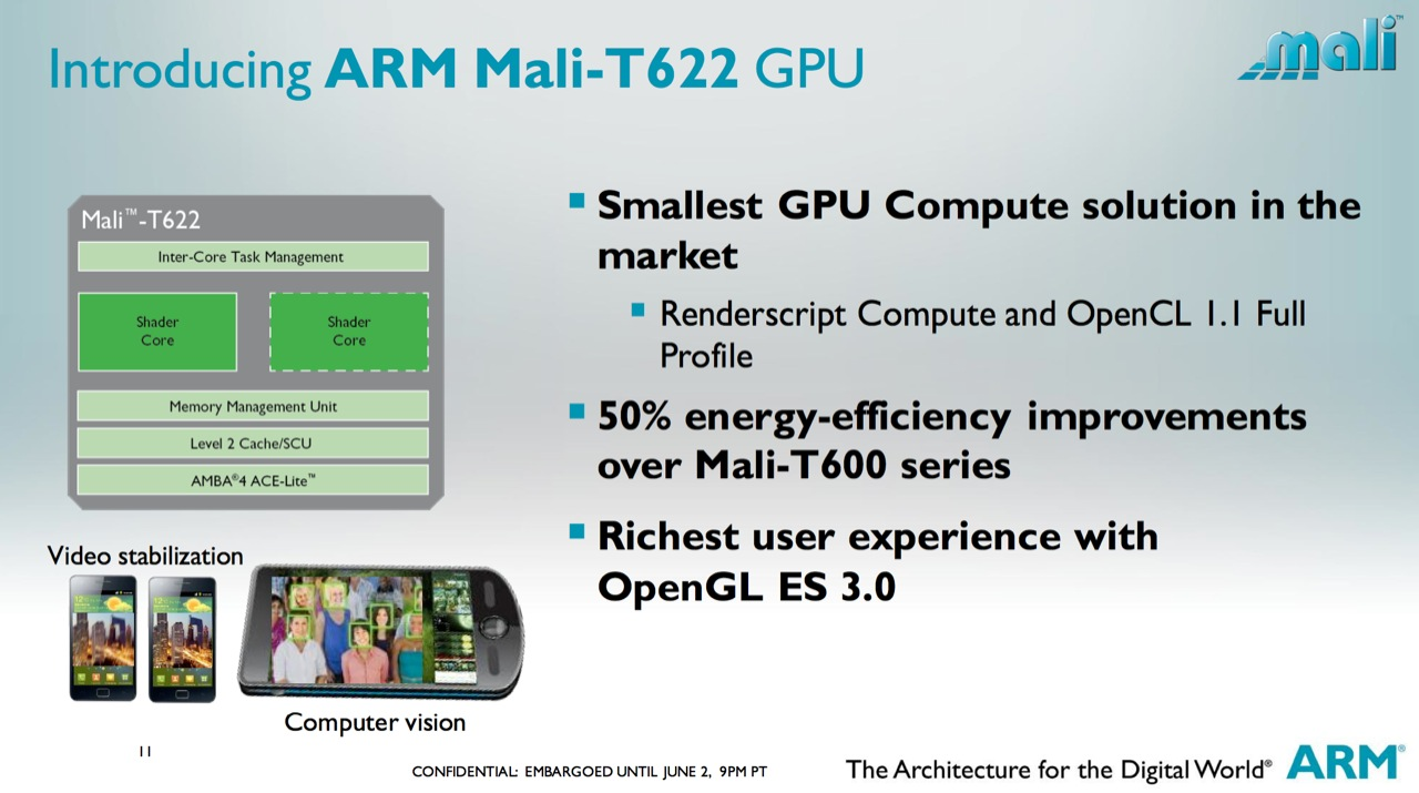 The Mali-T622 GPU supports the same features as its faster cousins, but doesn't pack the same performance.