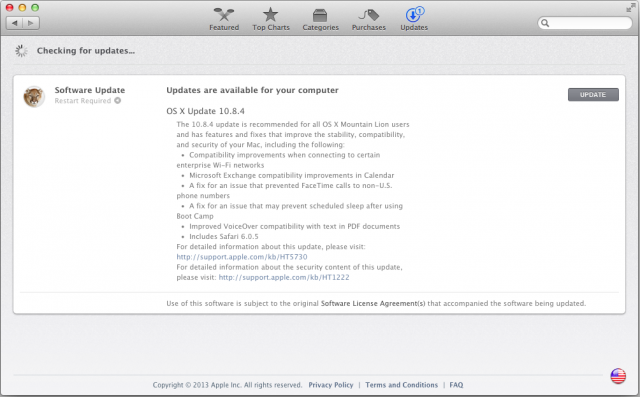 OS X 10.8.4 comes with a long list of fixes.