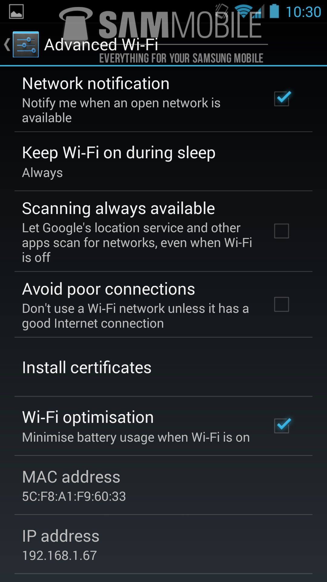 Looks like Android 4.3 may include some additional advanced Wi-Fi options.