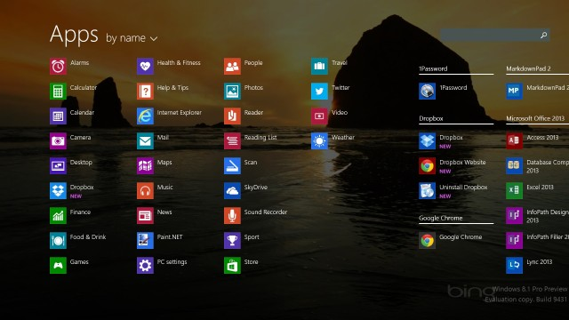 "All apps, using the desktop background. Notice the ""new"" flags."