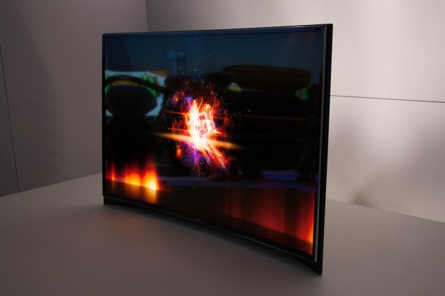 The curved OLED TV Samsung showed off at CES. Immerse your face at a distance of a couple of feet. Just don't go blind.