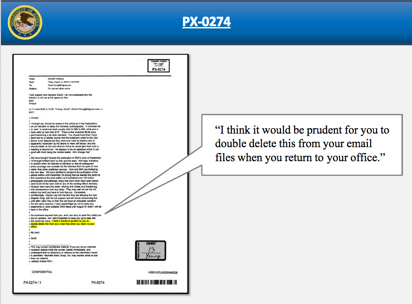 "Another of the DOJ's slides, where one publishing company CEO asks another to ""double delete"" an e-mail regarding e-book price business dealings."