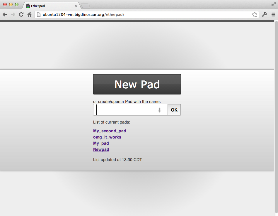 And after waiting a minute to refresh, there's our new pad, right where it should be.