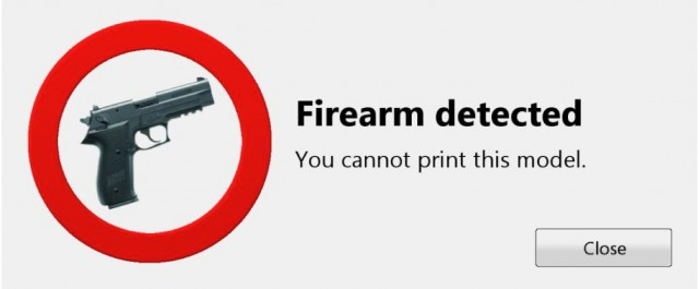 The Danish startup's new 3D printed firearm detection software will display this error message.