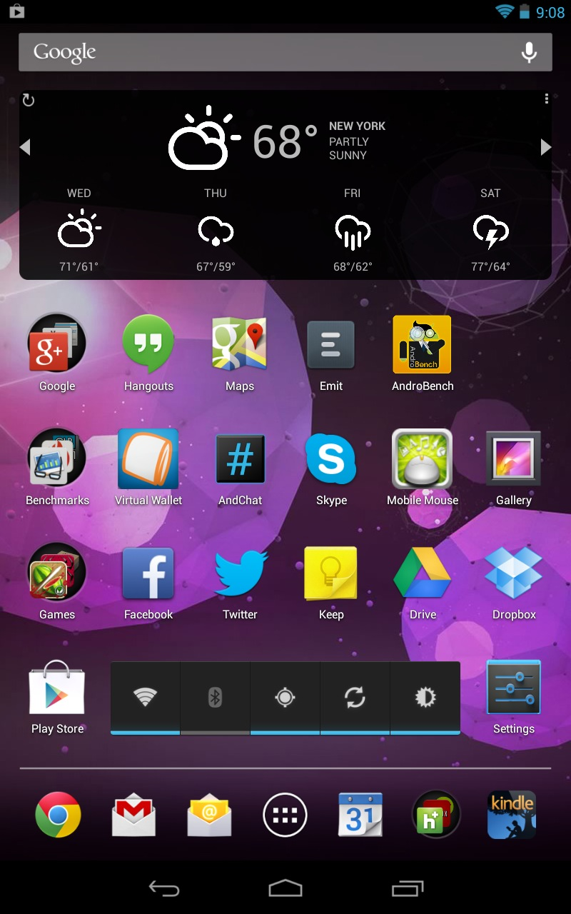The Nexus 7 and Android 4.1 introduced a new Android tablet layout optimized for 7-inch screens. It sticks quite a bit closer to the established Android phone layout: nav buttons centered at the bottom, the app drawer in the dock, and notifications up top. It also fits two more rows' worth of icons, where the Sero 7 wastes space.