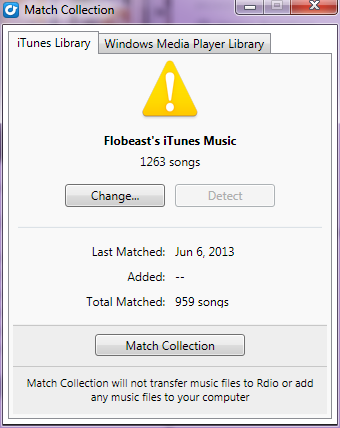Rdio can upload your iTunes or Windows Media Player libraries.