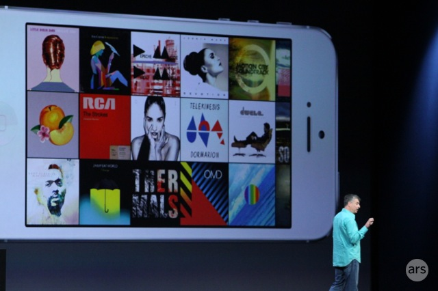 The redesigned music app in iOS 7.