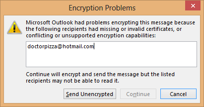 If you don't have someone's public certificate, you can't send them encrypted mail.