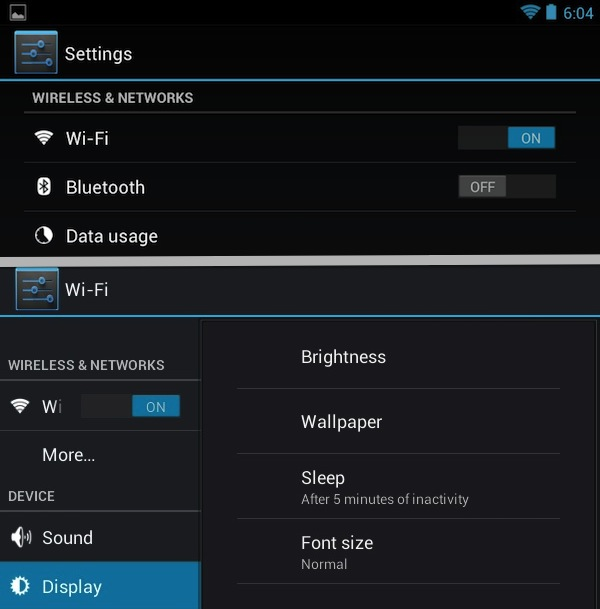 "The ""7-inch"" settings screen, top, presents all the top level settings options to you. Tapping any of them takes you into another subscreen. The ""10-inch"" interface, bottom, squeezes the top-level settings and the subscreens onto the display at the same time, which looks cramped on a small display."