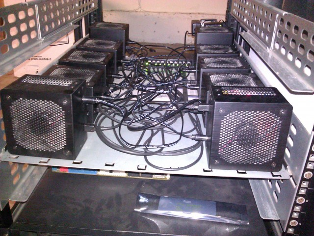 This represents a small portion of Marc Bevand's Bitcoin mining rig.